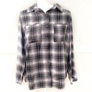 Forever 21 Grey Plaid Lightweight Flannel Shirt